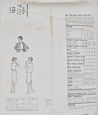 Back of pattern envelope of Vogue 183