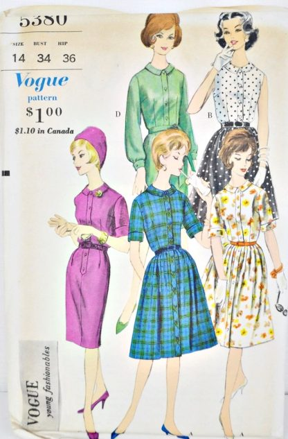 Vintage Vogue 5380. A shirtwaist dress pattern with slim or pleated skirt.
