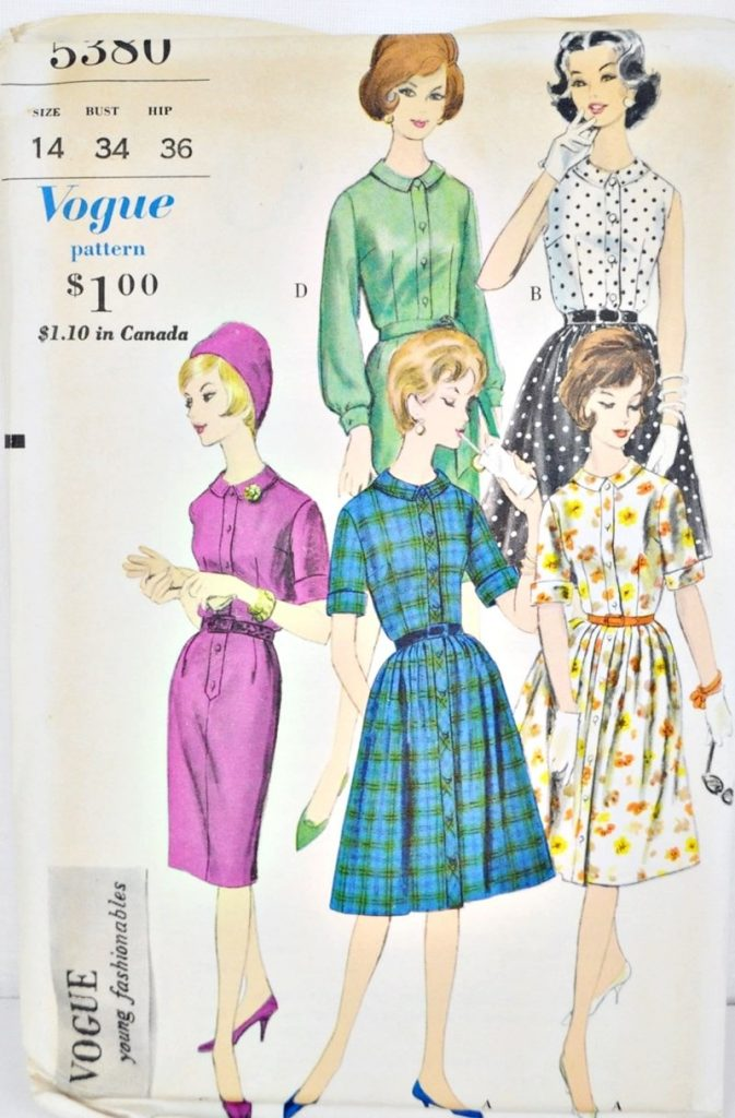 Vogue 5380 Shirtwaist Dress Pattern Bust 34