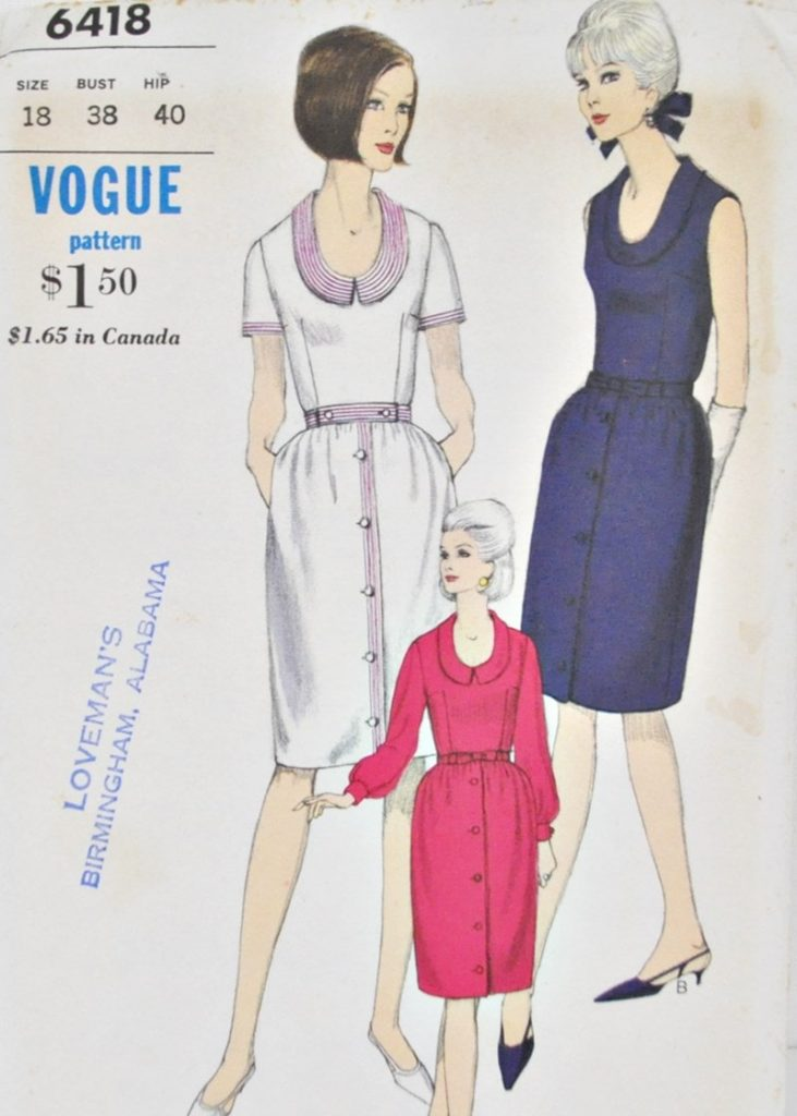 1960's Vogue 6418 Dress Pattern Bust 38
