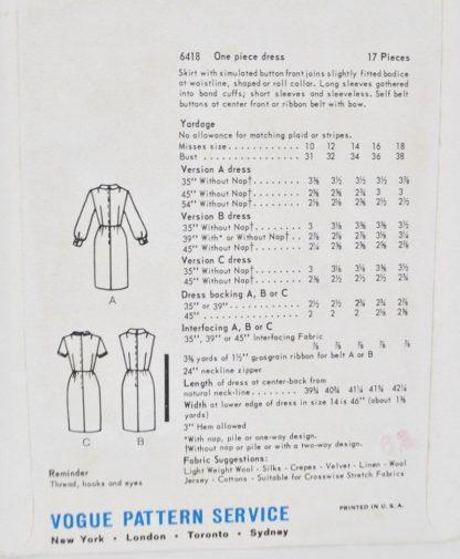 Pattern envelope back - Vogue 6418