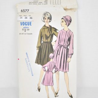 Vintage Vogue 6577, a pleated, shirtwaist dress for bust size 34