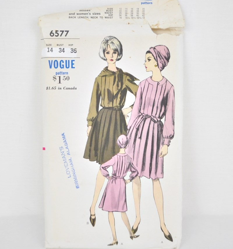 1960's Vogue 6577 – Pleated Dress and Scarf – Bust 34
