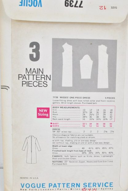 Back of Vogue 7739 pattern envelope