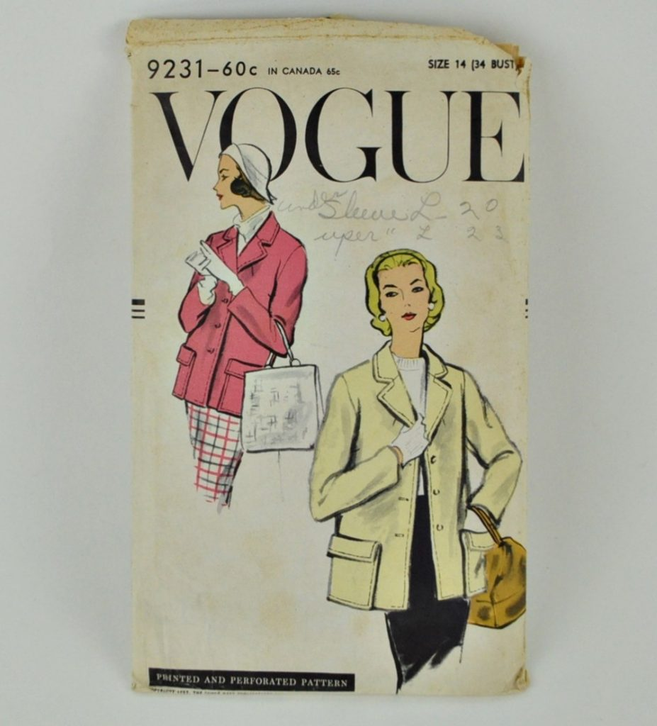 Vintage 1950s Vogue 9231 Box Jacket Pattern Bust 34