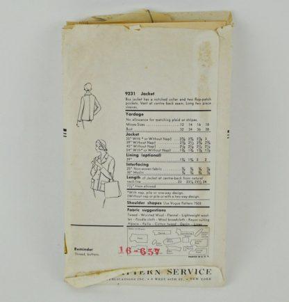 """Envelope back for vintage Vogue 9231 jacket pattern for 34"""" bust"""