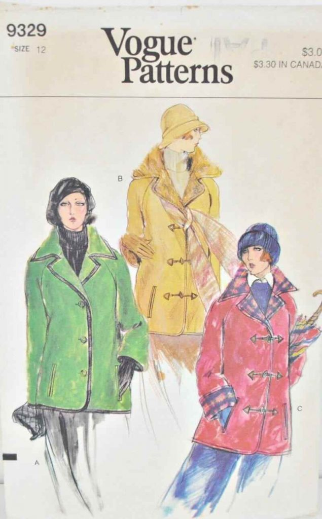 Vintage Car Coat Pattern Bust 34 Vogue 9329 Loose Hip Length Coat With Wide Collar