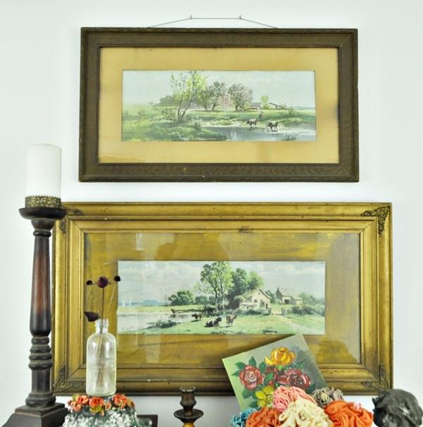 Vintage landscape used in a hall vignette