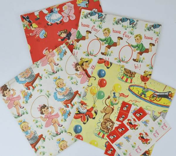Vintage Kids Birthday Wrapping Paper sold on Etsy