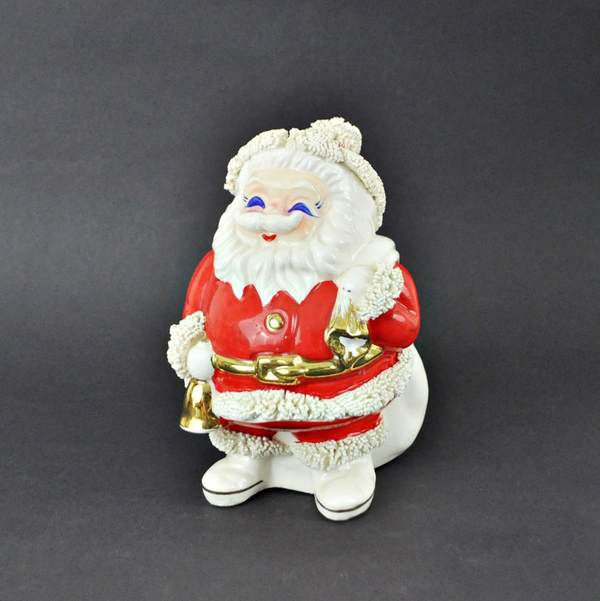 Vintage spaghetti Santa bank sold on Etsy