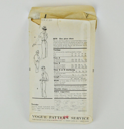Back of pattern envelope of Vogue 8878, a 1957 wiggle dress pattern.