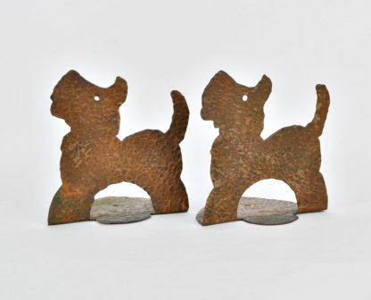 Arts and Crafts hammered copper Scottie dog bookends
