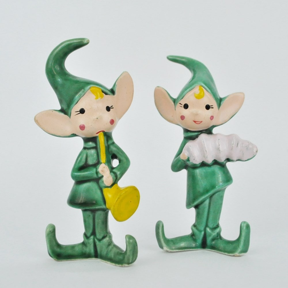 2 Green Elf Figurines Playing Instruments