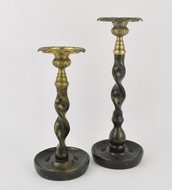 Brass twist candlesticks