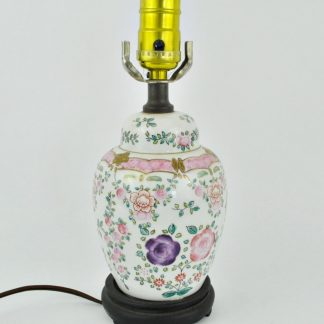 Small pink floral ginger jar lamp
