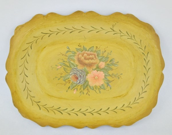 Yellow tole tray