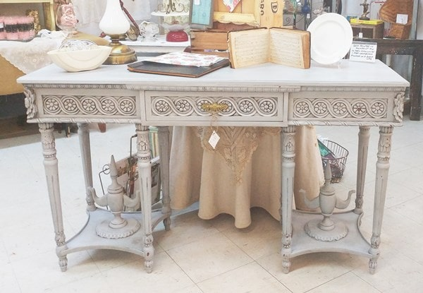 Gray painted and distressed sofa table