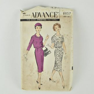"Advance 8857, a 1950s dress pattern for 41"" bust"
