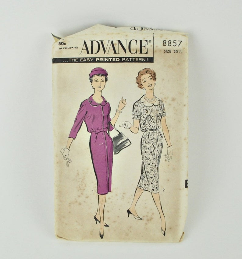 Vintage 1950s Dress Pattern Advance 8857 For 41″ Bust – Plus Size