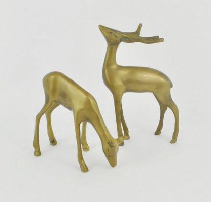 Vintage pair of brass deer