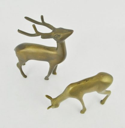 Pair of brass deer, view from the top