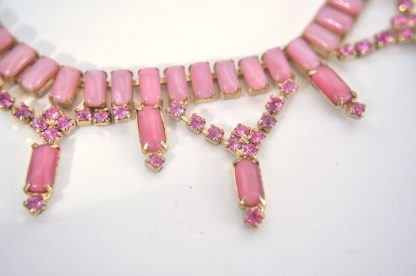 Close-up of pink moonstone necklace