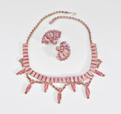 Pink Moonstone Necklace and Earring Set