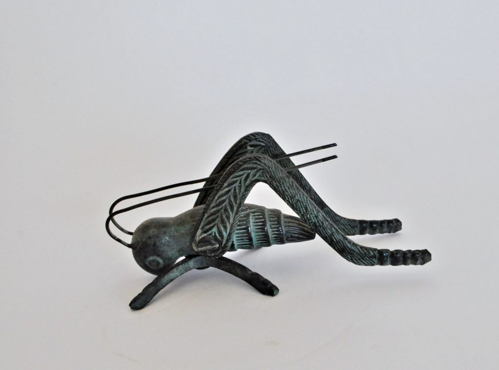 Metal Grasshopper Figurine with Verdigris Finish