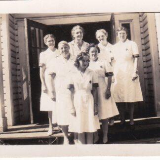 Vintage photo of ladies in Red Cross uniforms